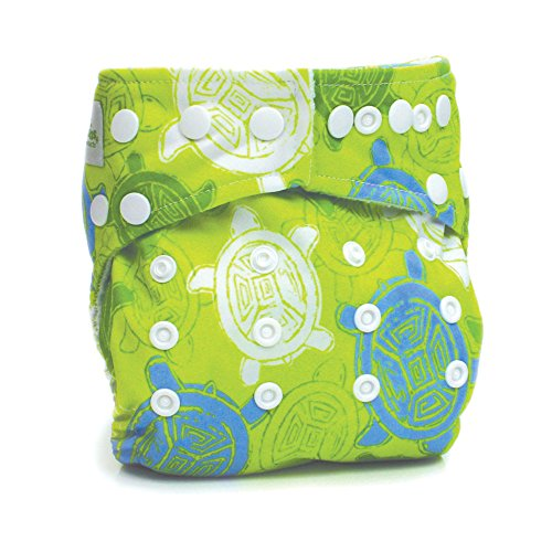 Bumkins Stuff It Cloth Diaper with 2 Minky Inserts, Green Turtle