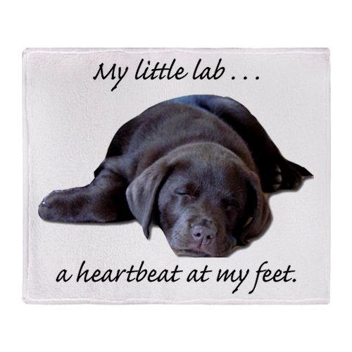 Cafepress Chocolate Lab Heartbeat Throw Blanket - Standard Multi-Color back-509503