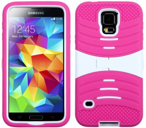 Mylife (Tm) Deep Magenta Pink And Bright White - Shockproof Survivor Series (Built In Kickstand + Easy Grip Ridges) 2 Piece + 2 Layer Case For New Galaxy S5 (5G) Smartphone By Samsung (Internal Flex Silicone Bumper Gel + Internal 2 Piece Rubberized Fitted