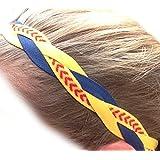 It S Ridic No Slip Grip Non-Slip Sports Athletic Nylon Triple Braided Sports Headband Navy Blue | Yellow | Softball...