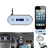 3.5mm White Car Wireless FM Transmitter For iPhone 5S 5C 4S iPod Samsung Galaxy S4 MP3