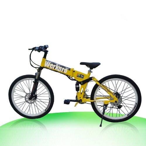"ebike 26"" Zoll Mountainbike Faltrad Klapprad Elektro Batterie Pedelec 21 gang (Gelb)"
