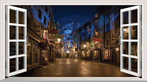 Harry Potter Diagon Alley 3d Magic Window v0101 da parete adesivo poster da parete, 1000 mm larghezza x 600 mm profonda (grande)