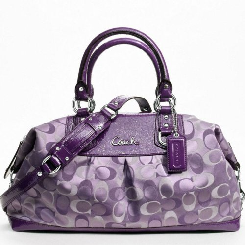 Coach 3 Color Signature Large Ashley Satchel Bag 18437 Violet Purple ...