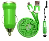 Emartbuy® Trio Pack For Star N9770 - Green Bullet 1 Amp USB Car Charger + Green Metallic Mini Stylus + Green Flat Anti-Tangle Micro USB Sync / Transfer Data & Charger Cable