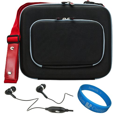 Black Red Vg Lish Edition Nylon Cube Case With Red Adjustable Shoulder Strap For Visual Land Prestige 10 Android 10.1-Inch Tablet + Black Hifi Noise Reducing Handsfree Headphones With Mic + Sumaclife Tm Wisdom Courage Wristband