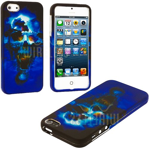 =>>  myLife (TM) Blue Scary Skull Series (2 Piece Snap On) Hardshell Plates Case for the iPhone 5/5S (5G) 5th Generation Touch Phone (Clip Fitted Front and Back Solid Cover Case + Rubberized Tough Armor Skin + Lifetime Warranty + Sealed Inside myLife Authorized Packaging)