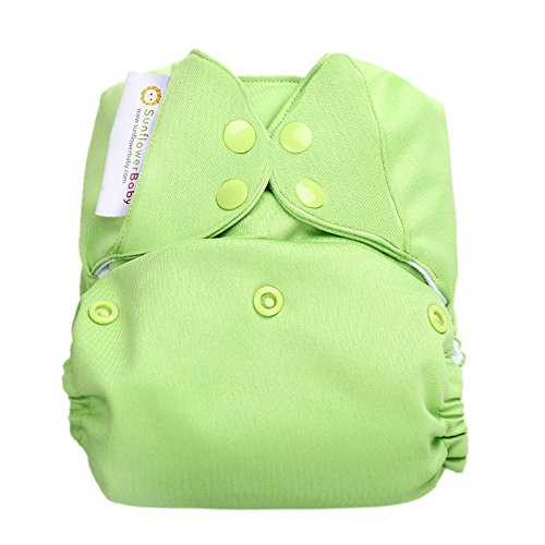 Sunflowerbaby Stay Dry One Size Solid Color Cloth Diaper, Green