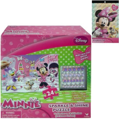 Disney Jr. Minnie Mouse Sparkle & Shine 24-Piece Puzzle Gift Set For Kids - 1 Minnie Sparkle & Shine Puzzle (11.25 in x 16.25) Plus 1 Minnie & Friends Sticker Pad (4 Sheets with Over 200 Stickers) - 1