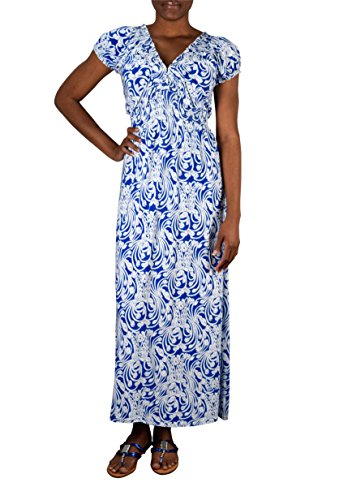 Peach Couture Womens Fashion Short Sleeved Smocked Damask Summer Maxi Long Dress Blue XL
