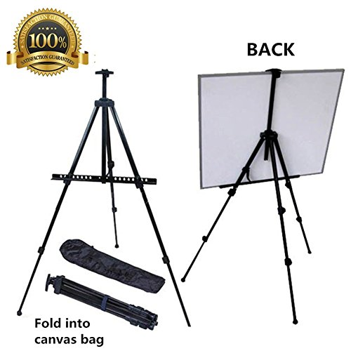 Easel for Kids, Mukin Field Easel Stand for Posters - Perfect  Painting,Office, Display Easel - Adjustable Height Lightweight Folding Telescoping Tripod Easels for Table or Floor - 63 Inches Tall. (Painting Easel Light compare prices)