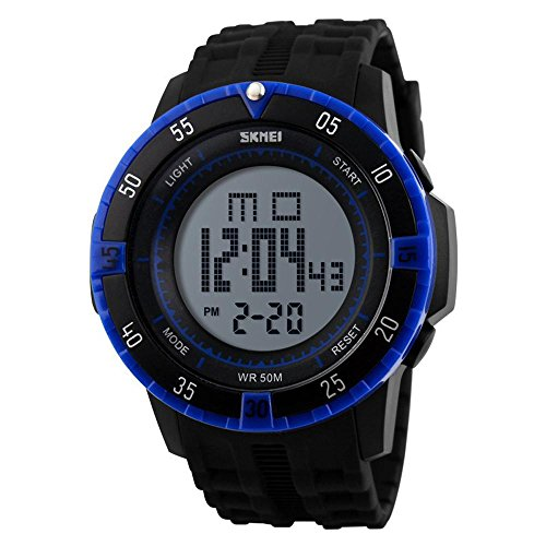 GL Mens Leisure Sport digitale LED allarme settimana calendario cronografo impermeabile orologio da polso, Blu