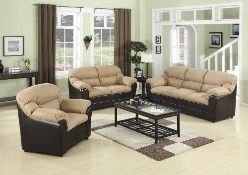 *Detail Shop Inland Empire Furniture Razzi Mocha Microfiber Plush U0026 Dark  Brown Faux Leather Sofa U0026 Love Seat.