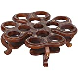 FURNCOMS Wooden Flower Type Glass Holder - 32 Cm X 32 Cm X 12 Cm, Brown