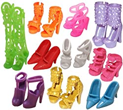 Eastvita perfect gift for children-Beautiful 10 Pairs of Doll Shoes, Fit Barbie Dolls (Exactly As in