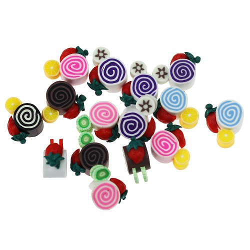 Wholeport Polymer Clay Cakes and Fruits Multicolor,12mm*12mm*6mm