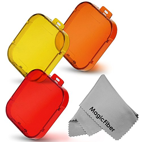 Underwater Color Correction Filter Set For Gopro Hero3+ Action Cameras - Includes: Red, Yellow, And Orange Filters + Magicfiber Microfiber Lens Cleaning Cloth
