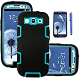 Galaxy S3 Case, EC™ 3in1 Shockproof Hybrid Case, [Shock Absorbing] Case, Rubber Combo Hybrid Impact Silicone Armor Hard Case Cover for Samsung galaxy S3 i9300 (Verizon, AT&T, T-Mobile, Sprint, International Unlocked) with Screen Protector and Stylus (Blue/Black)