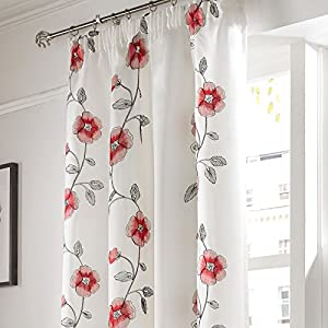 """Embroidered Poppy Red White 56x54"""" 142x137cm Lined Pencil Pleat Voile Curtains Drapes by Curtains"""