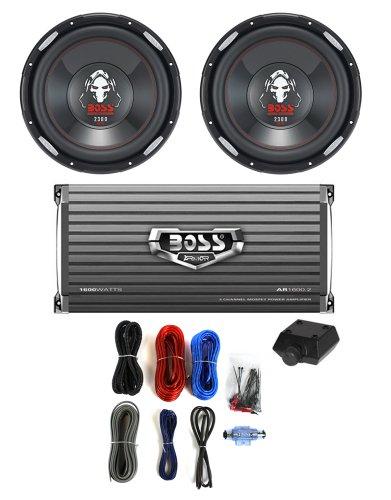 """2 Boss P126Dvc 12"""" 2300W Car Subwoofers Subs + 1600W 2-Ch Amp + 8 Gauge Amp Kit"""