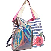 Nicole Lee Ashton Rose Print Hobo Bag (Rose Stripe)