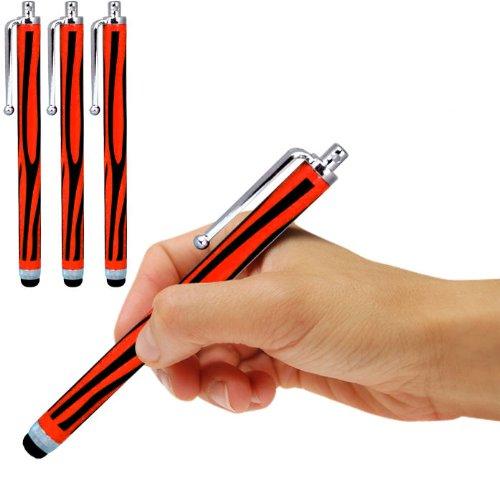 Samsung I9190 Galaxy S4 mini Dual Sime Zebra Aluminium kapazitiven Stylus Touch Pen (3 Pack) von Spyrox (Schwarz/Rot) von Spyrox