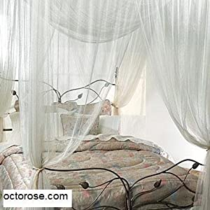 White 4 Corner / Poster Bed Canopy Mosquito Net Full Queen King