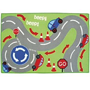 Country Club Children's Road Map Design Mat With Anti-Slip Backing 60cm x 90cm