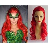 Deluxe Halloween Poison Ivy Kim Kardashian Style Long Red Curly Costume Wig