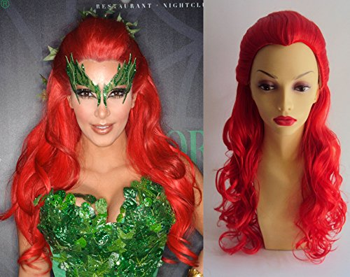 Poison Ivy Kim Kardashian Style Long Red Curly Wig