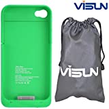VISUN™ 1900mAh Portable External Power Pack Backup Battery Charger Case with 6.69 inch VISUN Waterproof Bag for iPhone 4 4S At&t and Verizon (Green)