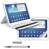 3en1:FUNDA DE CUERO 360º Premium para Samsung Galaxy Tab 3 10.1 P5200 / P5210 / P5220 en Blanco con una práctica función de soporte + Lámina, transparente + Stylus, Blanco de kwmobile