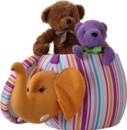 Pullo'man Children's Storage Ottoman, Bubbles The Elephant, Multi-Colored Stripes - 1