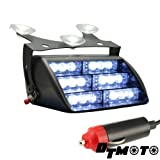 White Clear 18x LED Emergency Vehicle Windshield Mount Dash Strobe Warning Light - 1 unit