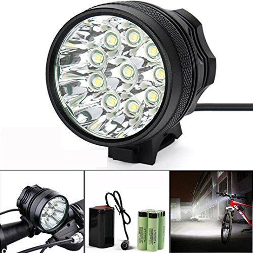 Bike Light - POTO 2500 Lumens LED Super Bright Bicycle Cycling Light, Waterproof, Easy Installation for Cycling Safety Flashlight with 1 x 8.4V 15000mAh Battery Pack (BLACK) (Snake Tail Ring compare prices)