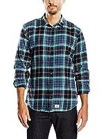 Blend Camisa Hombre (Verde Agua / Negro)