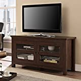 Walker Edison 44-Inch Full-Door Wood TV Console, Traditional Brown