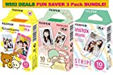 Fujifilm Instax Mini Film 3 Pack BUNDLE ★ Rilakkuma ★ Little Twin Stars ★ Stripe ★ 10 sheets X 3 Packs = 30 Sheets of Pictures! ★ BONUS-FREE ★ Wiki Deals Colorful Micro Fiber Cloth!