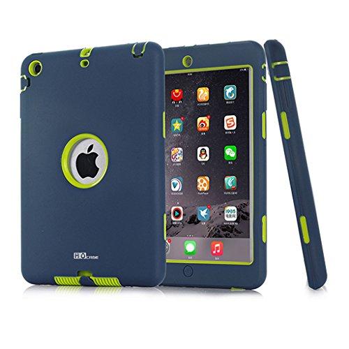 Mini iPad Case, Hocase Ruggged High-impact Dual Layer Hard Rubber Protective Case Cover for Apple iPad mini 1 / 2 / 3 - Navy Blue / Fluorescent Green (Ipad Mini Hard Cover compare prices)
