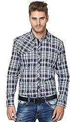 Yuvi Men's Regular Fit Cotton Shirt (10002158_Purple Blue_L)