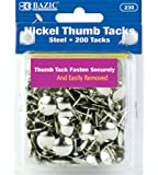 BAZIC Nickel Thumb Tack, Silver, 200 Per Pack