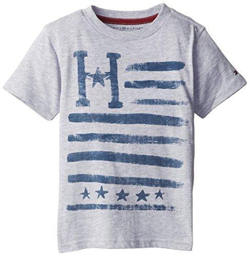 Tommy Hilfiger Little Boys' Short Sleeve Orson V-Neck Tee, Grey Heather, 05 Regular front-744564