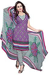 Parinaaz fashion Purple Crepe Straight Unstiched Salwar Suit Dress Material