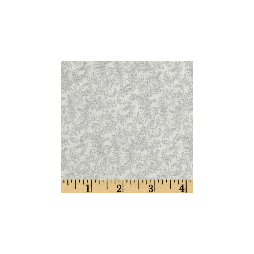 44 Wide Georgette Christmas Vines White/Silver Fabric By The Yard