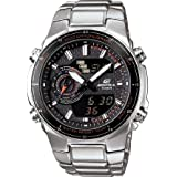 Casio Men's Edifice Steel Analog-Digital Multi-Function Orange Accents