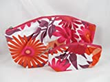 Clinique red flower cosmetic bag with mini bag
