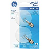 GE Lighting 23091 2-Pack Globe Light Bulb-60W CLR 2-1/16GLOBE BULB