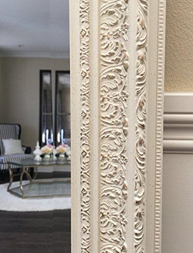 West Frames Elegance Ornate Embossed Antique White Wood Framed Floor Mirror 3