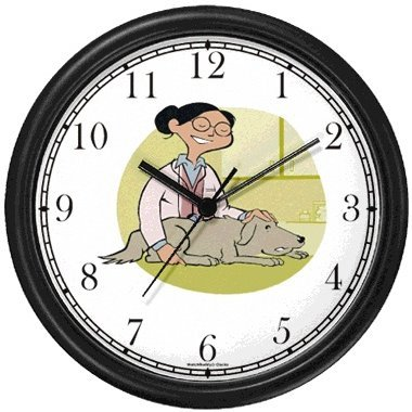 Vet or Veterinarian with Dog Wall Clock by WatchBuddy Timepieces Slate Blue Frame