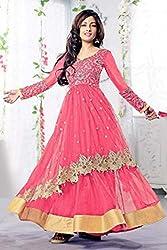 Bollywood Riya Sen Net Party Wear Anarkali Suit in Peach Colour